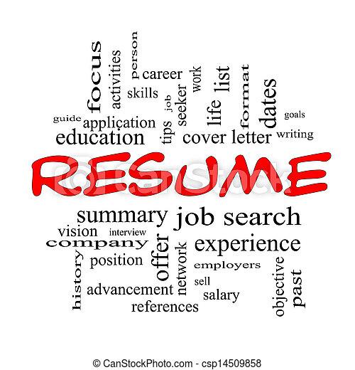 resume word cloud concept in red caps csp14509858