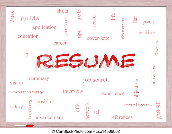 Resume word cloud concept on a whiteboard with great terms stock