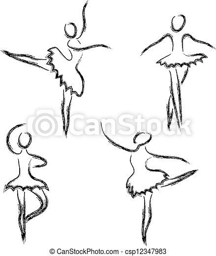 Son bailarinas abstractas de ballet - csp12347983