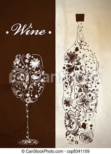 Una botella de vino abstracto - csp8341109