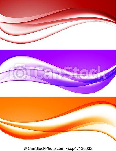 Colección de ondas brillantes abstractas - csp47136632