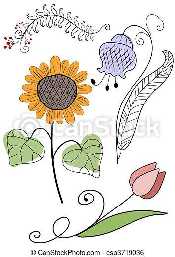 resumen, conjunto, trabajo manual, flores - csp3719036