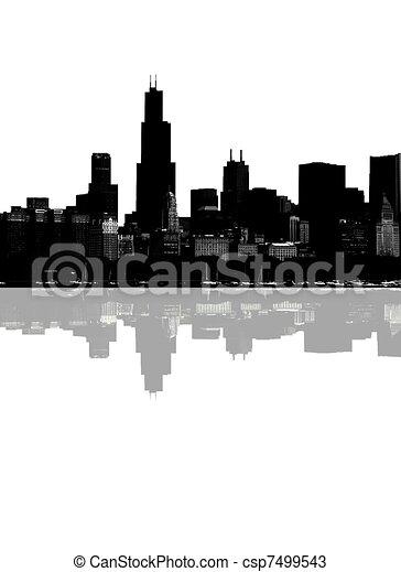 resumen, contorno, chicago - csp7499543