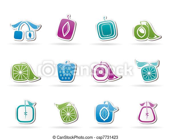resumen, cuadrado, fruta, iconos - csp7731423