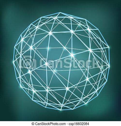Composición de esfera geométrica abstracta con puntos brillantes - csp16602084