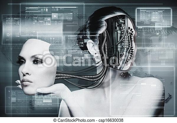 Mujer biomecánica, fondo futurista abstracto para tu diseño - csp16630038