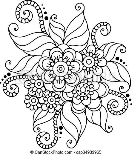 Ornamento de flores abstracto de henna mehndi - csp34933965