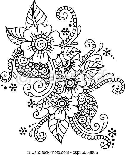 Ornamento de flores abstracto de henna mehndi - csp36053866
