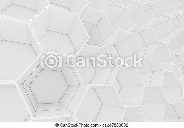 Trasfondo abstracto geométrico hexagonal blanco vacío, representación 3D - csp47880632