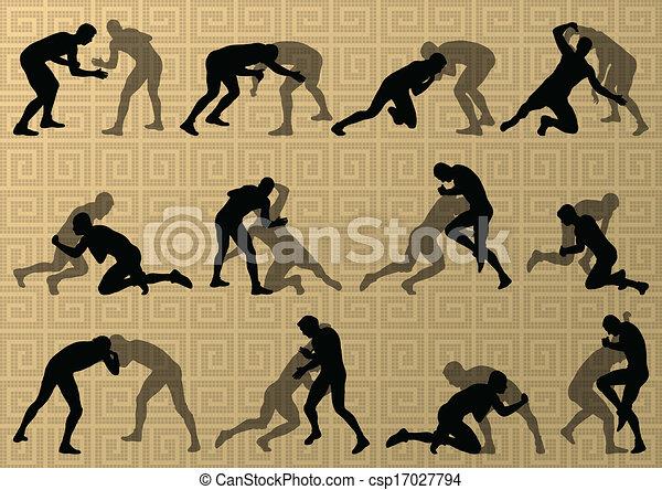 Roman griego luchando contra hombres activos deportivos siluetas vector de ilustración abstracta de fondo - csp17027794