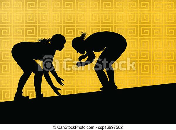 Roman griego luchando contra mujeres jóvenes activas deportivas siluetas vector de ilustración abstracta de fondo - csp16997562