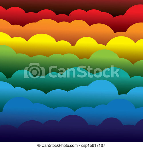 Abstracción colorida de 3D de fondo de nubes de papel. Esta ilustración contiene capas de nubes formadas usando papel en colores como rojo, naranja, amarillo, verde y azul - csp15817107