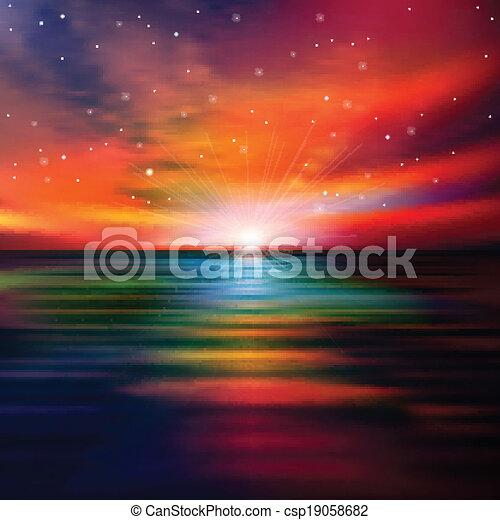 Trasfondo abstracto con atardecer marino - csp19058682