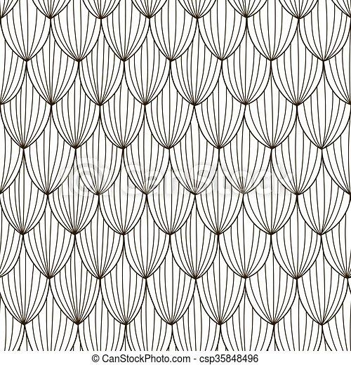 Patrón abstracto negro y blanco. Trasfondo de ondas dibujadas a mano - csp35848496