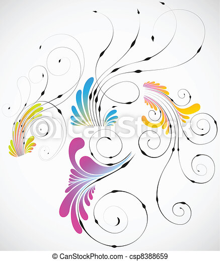Colección de diseño de flores abstractas Vector - csp8388659