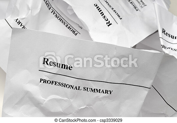 resumes crumpled up and tossed in frustration - csp3339029