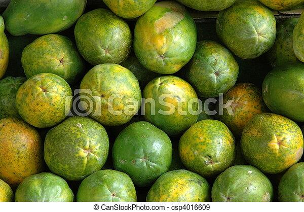 Retail Background of Fresh Papayas - csp4016609