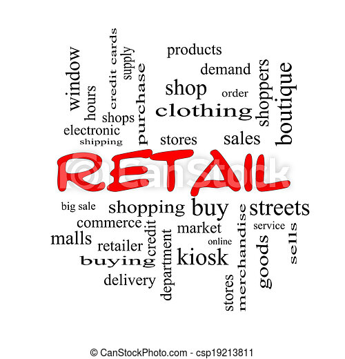 Retail Word Cloud Concept in red caps - csp19213811