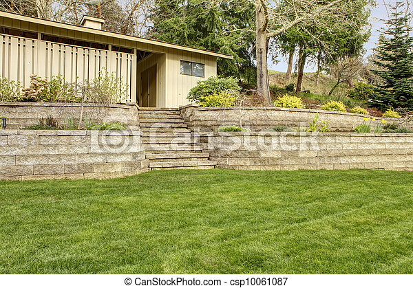 Retaining Brick With Steps Wall With Garage Building Retaining