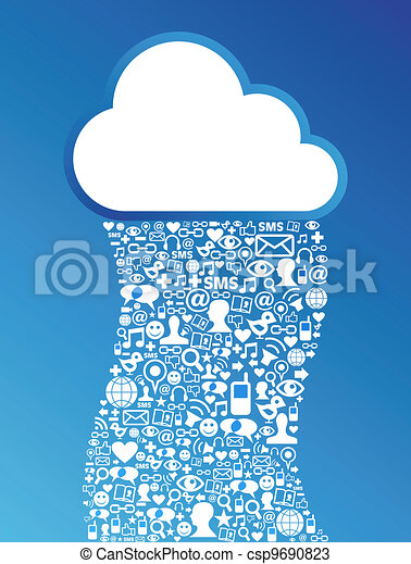 rete, calcolare, media, fondo, sociale, nuvola - csp9690823