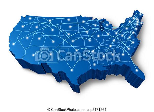 rete, comunicazione, u.s.a, mappa, 3d - csp8171864