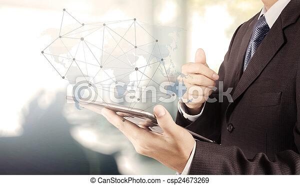 rete, lavorativo, mostra, moderno, computer, uomo affari, nuovo, sociale - csp24673269