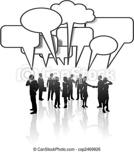 rete, persone affari, media, comunicazione, discorso squadra - csp2469926