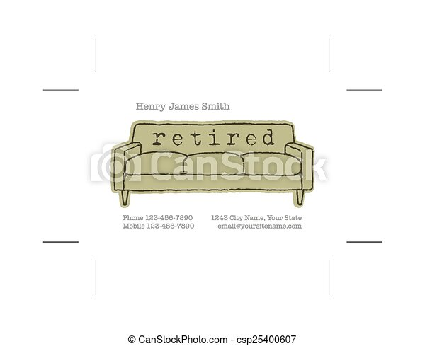 retired business card with crop marks rh canstockphoto com Business Card Logo Business Card Graphics