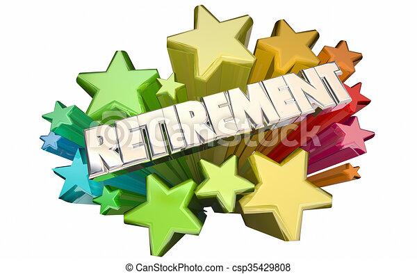 Retirement Farewell Going Away Employment Ending 3d Stars Words - csp35429808