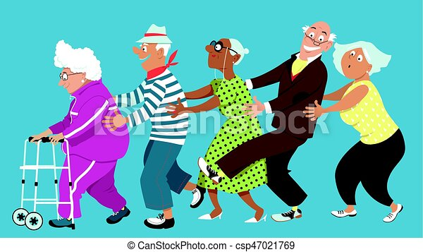 Retirement home conga diverse group of active senior for Animateur en maison de retraite salaire