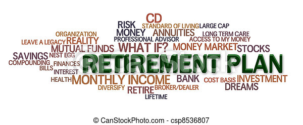 retirement plan word cloud with financial words