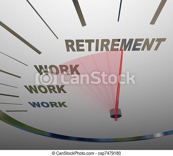 Retirement Speedometer Racing to End of Work Career - csp7479180