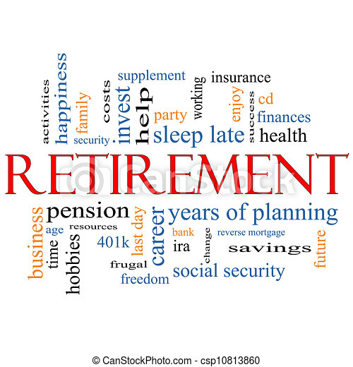 retirement word cloud concept with great terms such as security