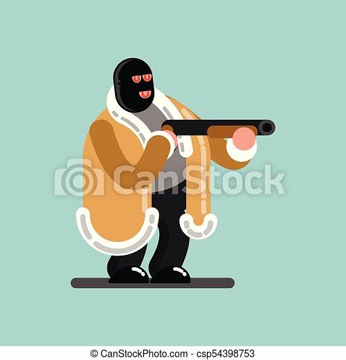El gran ladrón enmascarado está listo para disparar - csp54398753