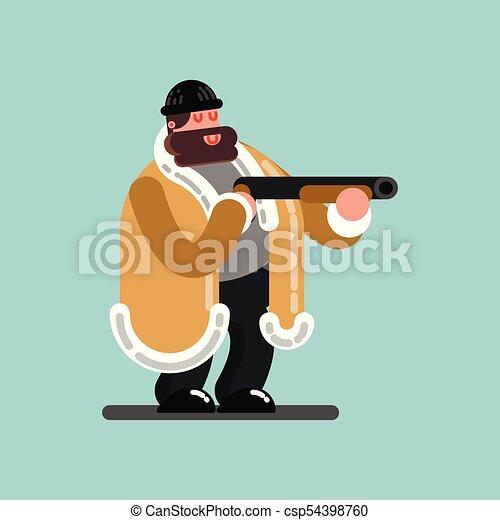 El tipo grande con escopeta está listo para disparar - csp54398760