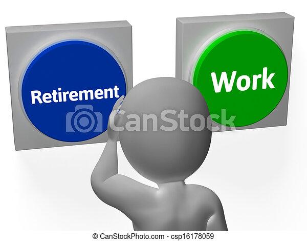 retraité, retraite, exposition, travail, boutons, emploi, ou - csp16178059