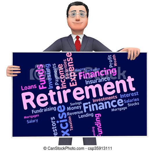 retraité, retraite, mot, fonctionnement, indique, finition - csp35913111