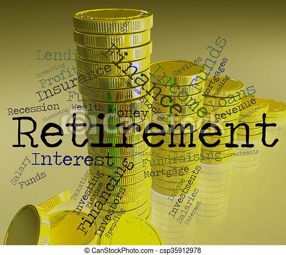retraité, retraite, mot, travail, finition, spectacles - csp35912978