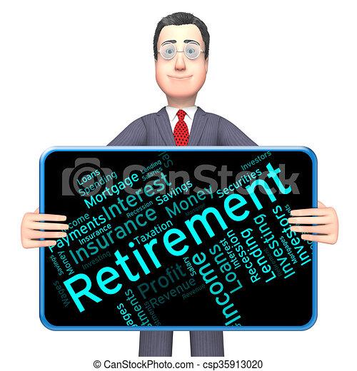 retraité, retraite, spectacles, travail, finition, mot - csp35913020