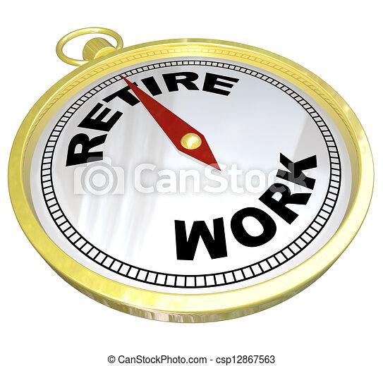 retraite, fonctionnement, carrière, après, -, planification, compas - csp12867563