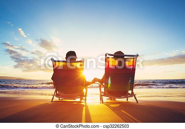 retraite, regarder, concept, vacances, coupé, coucher soleil, mûrir - csp32262503