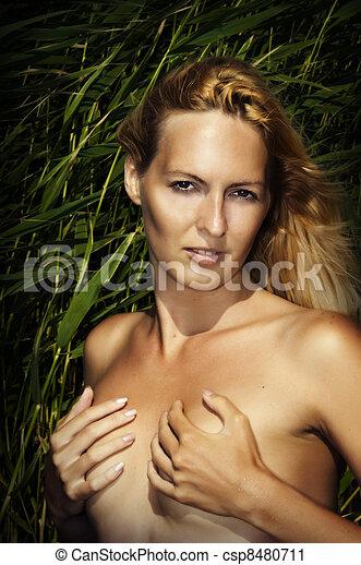 retrato, ao ar livre, mulher, moda, excitado - csp8480711