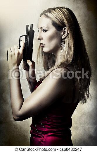 retrato, arma, mulher, moda, excitado - csp8432247