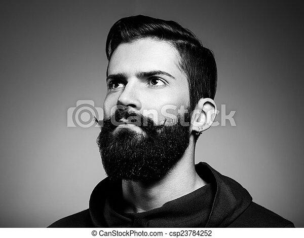 retrato, bonito, barba, homem - csp23784252