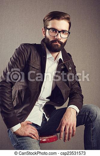 retrato, bonito, barba, homem - csp23531573