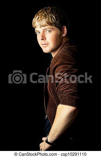 retrato, bonito, moda, homem jovem - csp10291110