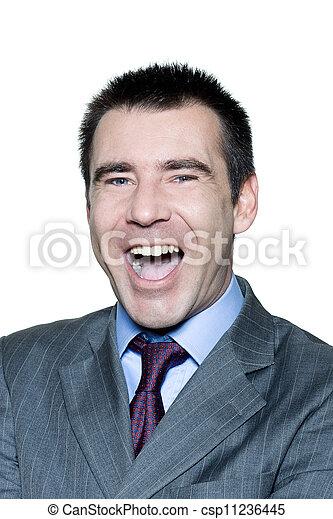 retrato, bonito, rir, homem - csp11236445