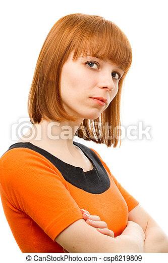 retrato, branca, mulher, jovem, fundo - csp6219809