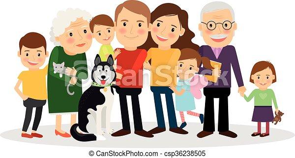 Clip art vectorial de retrato, caricatura, familia ...