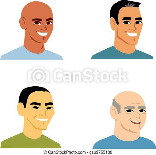 Retrato de avatar de dibujos animados de 4 hombres - csp3755180